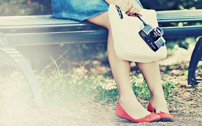 Wallpaper shoes, wallpapers, the camera, bench, pumps, Wallpaper, leaves, camera, for rabiega table, greens, girl, jeans, ...