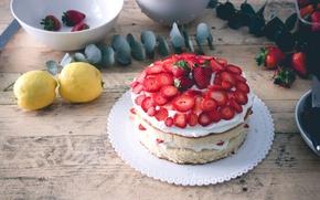 Picture strawberry, cake, dessert, lemons
