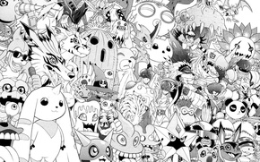 Picture white, anime, black, wallpaper, manga, characters, old school, digimon