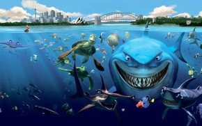 Picture TURTLES, FISH, CARTOON, SHARKS, UNDERWATER, INHABITANTS, Finding Nemo