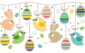 Picture eggs, Easter, rabbits, birds