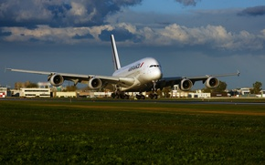 Wallpaper Airbus, The sky, A380, Clouds, Grass, The rise, Air France, Airport, Liner, The plane