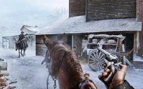 Wallpaper revolver, horse, Encounter, the city, winter