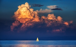 Wallpaper sea, the sky, clouds, reflection, shore, sailboat, mirror, horizon