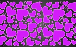 Picture love, hearts, love, background, hearts, purple, gradient