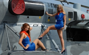 Picture girls, two, blonde, red, helicopter, legs
