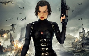 Wallpaper Milla Jovovich, Resident evil Retribution, Resident Evil Retribution, Milla Jovovich, the explosion, zombies