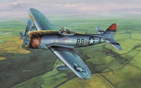 "Picture fighter, war, airplane, painting, aviation, ww2, dogfight, P 47 Thunderbolt, ""the Jug"""