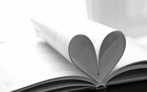 Picture heart, book, black and white, heart, page