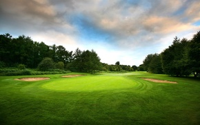Picture field, trees, for, Golf