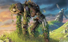 Wallpaper grass, mill, robot