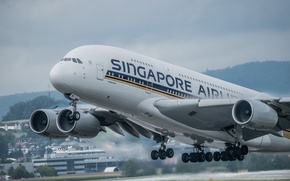 Picture the plane, jet, A380, passenger, widebody, double deck, four-engined, Singapore Airlines