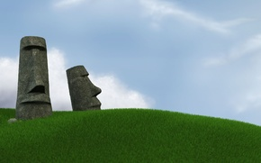 Wallpaper The sky, Grass, Easter island, Statues