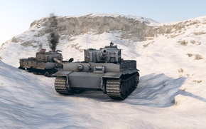 Picture the sky, mountains, rendering, tank
