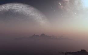 Picture sea, island, planet, stars