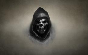 Picture the dark background, skull, skeleton
