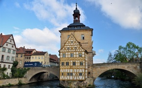 Picture bridge, building, Germany, Bayern, architecture, bridge, Germany, Bamberg, Bavaria, architecture, the river Regnitz, Bamberg, Regnitz …
