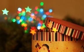 Wallpaper magic, gift, surprise, miracle, box, Christmas, bokeh, new year, tale