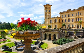 Picture flowers, design, Park, lawn, UK, fountain, stairs, Sunny, Palace, Osborne House, Queen Victorias residence