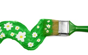 Picture greens, flower, green, paint, color, spring, brush, bright