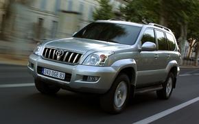 Picture road, auto, the way, speed, jeep, toyota, land, riding, prado, cruiser, lend, 120, Prado, cruiser
