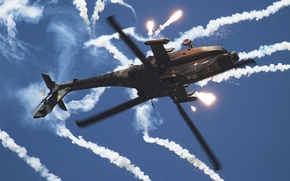 Wallpaper helicopter, smoke, flares