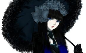 Picture girl, umbrella, bow, art