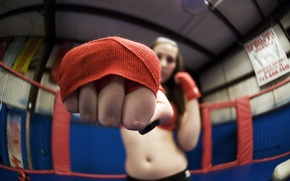 Picture girl, sport, fist, training