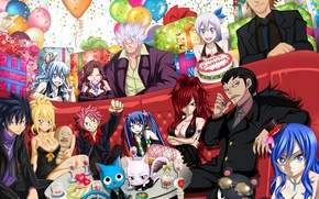 Picture balls, girls, holiday, cats, anime, art, gifts, cake, guys, happy, booze, fairy tail, tale of …