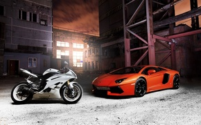 Picture white, Yamaha, orange, Aventador