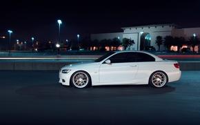 Picture white, night, BMW, BMW, profile, white, 335i, E93, The 3 series