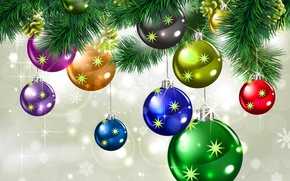 Picture winter, stars, decoration, snowflakes, holiday, balls, Christmas, New year, colorful, beautiful, sparkling