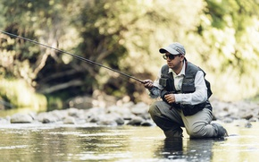 Picture men, fly fishing, sport fishing