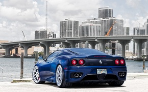 Picture blue, bridge, the city, Ferrari, Ferrari, 360, skyscrapers, blue, Modena, Modena