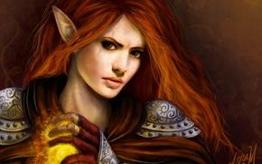 Picture girl, magic, art, red, armor, elf, ears