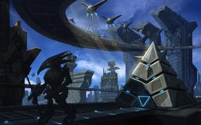 Picture the city, robot, art, pyramid, megapolis