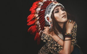 Picture girl, face, style, hair, feathers, hands, beauty, jewelry, headdress