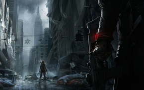 Picture The sky, Weapons, Fog, Light, Clouds, People, Tom Clancy's The Division, The city, Building, Equipment, ...