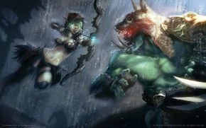 Picture rain, art, World of Warcraft, Orc, the blood elf