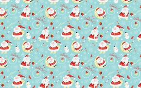 Wallpaper balls, holiday, the moon, New year, Santa Claus