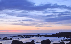 Picture sea, the sky, clouds, sunset, stones, the ocean, shore, lighthouse, The evening, twilight, away