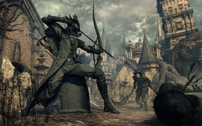 Picture the city, bow, fortress, hunter, Bloodborne