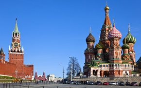 Picture Russia, Moscow, The Kremlin, city, area, Russia, St. Basil's Cathedral, Moscow, Kremlin