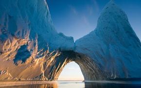 Picture water, the sun, rays, iceberg, ice, Arctic