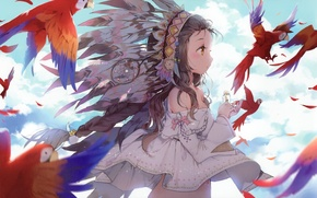 Picture the sky, girl, clouds, anime, feathers, art, bottle, parrots, anmi
