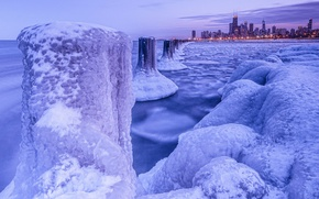 Wallpaper winter, ice, frost, Chicago, night city, Chicago