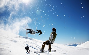 Picture winter, the sky, snow, snowboard