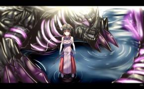 Wallpaper dragon, water, zxd0554, girl, art, monster, anime