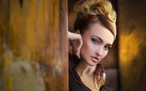 Picture eyes, look, girl, light, wall, portrait