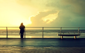 Picture widescreen, mood, background, nature, bench, HD wallpapers, Wallpaper, sea, people, wave, full screen, the sun, ...